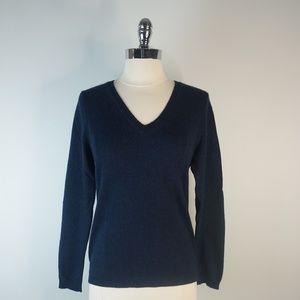 Sweaters - Simply Cashmere Navy Blue V Neck Sweater Medium
